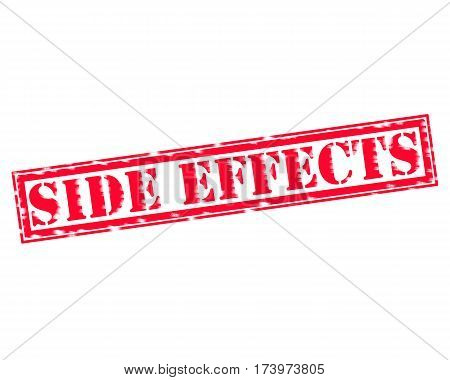 SIDE EFFECTS RED Stamp Text on white backgroud