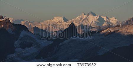 Mischabel range seen from mount Titlis Switzerland. Dom highest mountain in Switzerland.