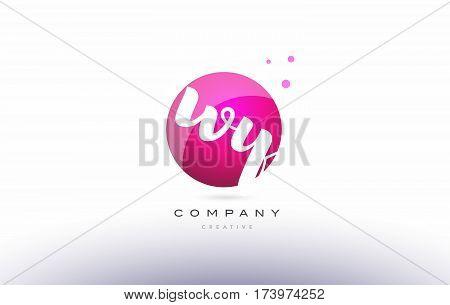 Wy W Y  Sphere Pink 3D Hand Written Alphabet Letter Logo