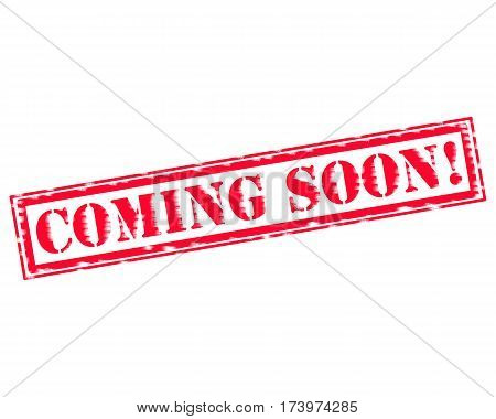COMING SOON RED Stamp Text on white backgroud
