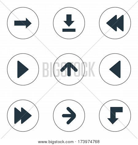 Set Of 9 Simple Pointer Icons. Can Be Found Such Elements As Rearward, Upward Direction, Let Down And Other.