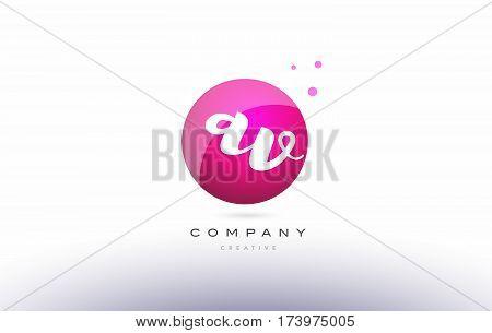 Av A V  Sphere Pink 3D Hand Written Alphabet Letter Logo