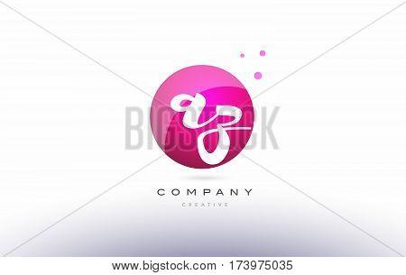 Az A Z  Sphere Pink 3D Hand Written Alphabet Letter Logo