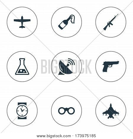 Set Of 9 Simple War Icons. Can Be Found Such Elements As Sky Force, Air Bomber, Watch And Other.