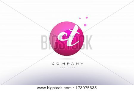 Ct C T  Sphere Pink 3D Hand Written Alphabet Letter Logo