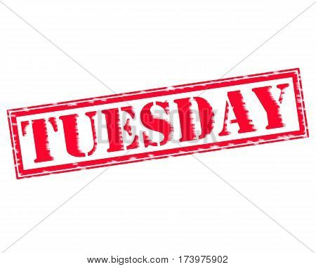 TUESDAY RED Stamp Text on white backgroud