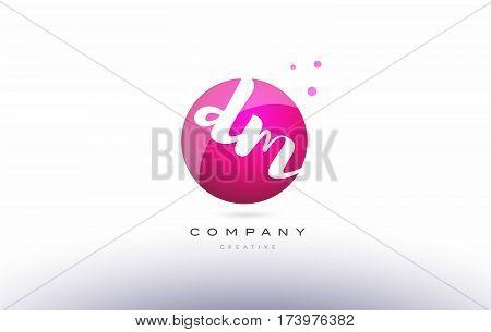 Dm D M  Sphere Pink 3D Hand Written Alphabet Letter Logo