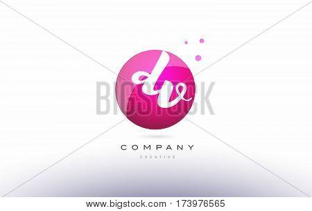 Dv D V  Sphere Pink 3D Hand Written Alphabet Letter Logo