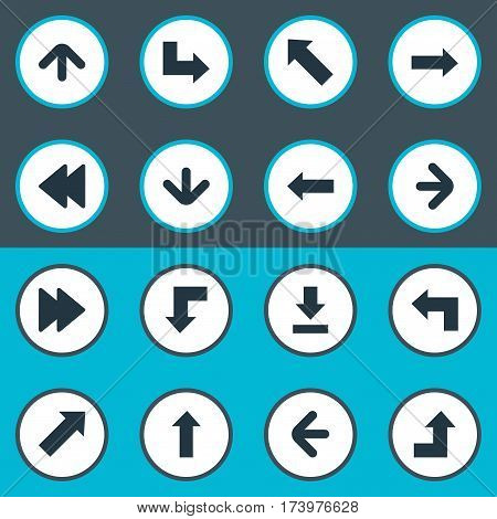Set Of 16 Simple Pointer Icons. Can Be Found Such Elements As Upward Direction, Right Direction, Left Direction And Other.
