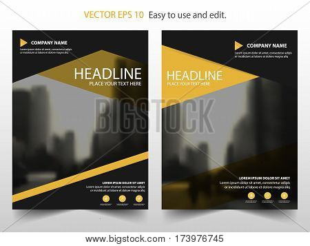 Yellow black Vector annual report Leaflet Brochure Flyer template design book cover layout design abstract business presentation template a4 size design