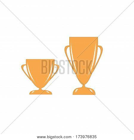 Cup reward isolated. Modern symbol of victory and award achievement sport. Insignia ceremony awarding of winner tournament. Colorful template for badge tag etc. Design element. Vector illustration