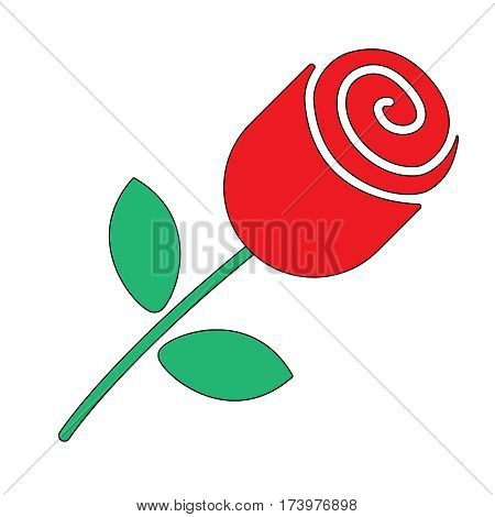 Rose. Single red rose in flat style vector illustration
