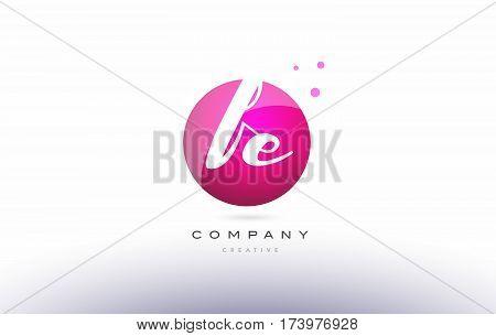 Fe F E  Sphere Pink 3D Hand Written Alphabet Letter Logo