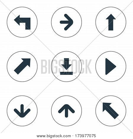 Set Of 9 Simple Pointer Icons. Can Be Found Such Elements As Upward Direction, Let Down, Indicator And Other.