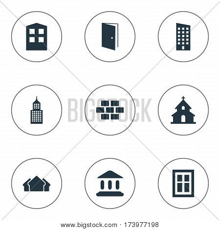 Set Of 9 Simple Architecture Icons. Can Be Found Such Elements As Popish, Shelter, Floor And Other.