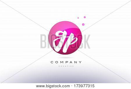 Gp G P  Sphere Pink 3D Hand Written Alphabet Letter Logo