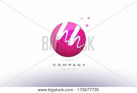 Hh H H  Sphere Pink 3D Hand Written Alphabet Letter Logo