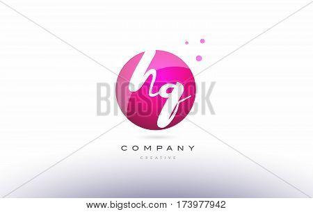 Hq H Q  Sphere Pink 3D Hand Written Alphabet Letter Logo