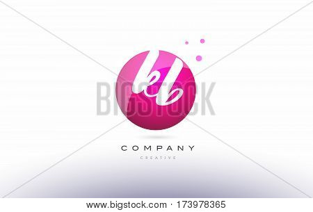 Kb K B  Sphere Pink 3D Hand Written Alphabet Letter Logo
