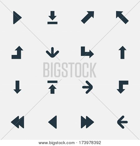 Set Of 16 Simple Pointer Icons. Can Be Found Such Elements As Right Direction, Downwards Pointing, Downwards Pointing And Other.