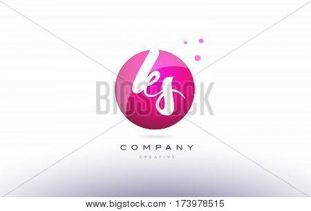 Ks K S  Sphere Pink 3D Hand Written Alphabet Letter Logo
