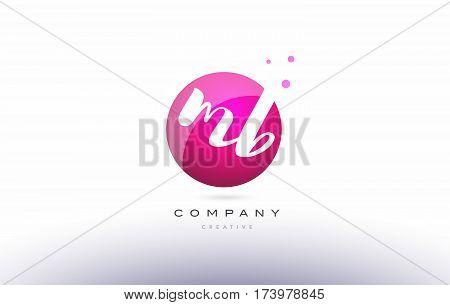 Mb M B  Sphere Pink 3D Hand Written Alphabet Letter Logo
