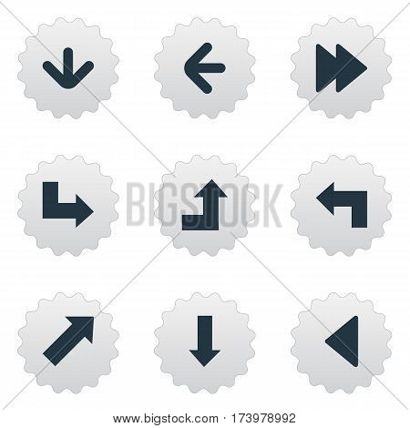 Set Of 9 Simple Pointer Icons. Can Be Found Such Elements As Pointer, Pointer, Left Direction And Other.