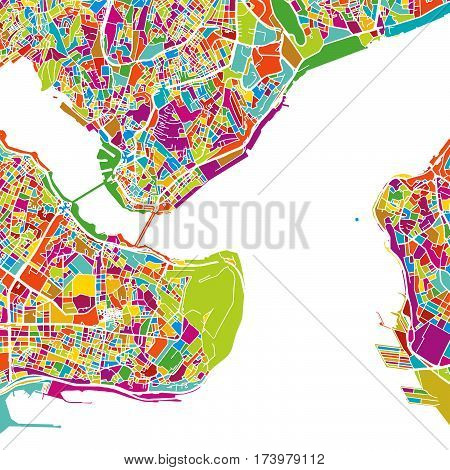 Istanbul Colorful Vector Map