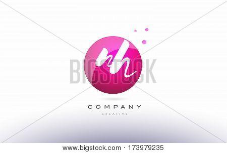Nh N H  Sphere Pink 3D Hand Written Alphabet Letter Logo