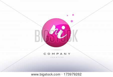 Ni N I  Sphere Pink 3D Hand Written Alphabet Letter Logo
