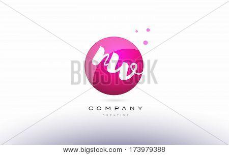 Nw N W  Sphere Pink 3D Hand Written Alphabet Letter Logo
