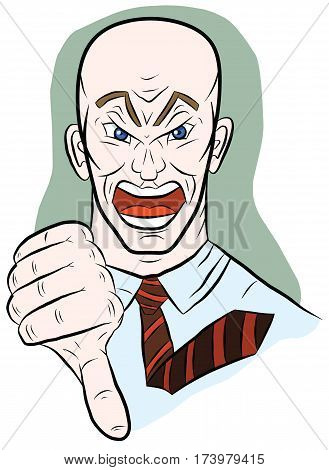 Angry man shows his thumb down, illustration