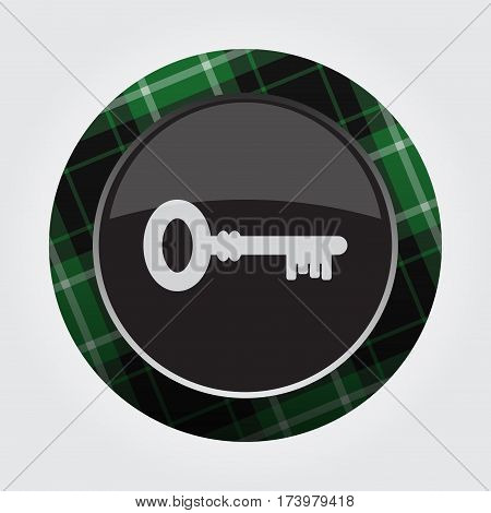 black isolated button with green black and white tartan pattern on the border - light gray key icon in front of a gray background
