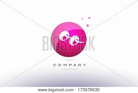 Oo O  Sphere Pink 3D Hand Written Alphabet Letter Logo