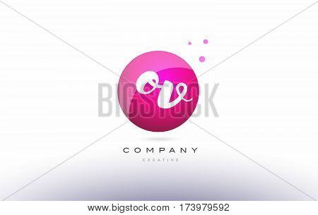 Ov O V  Sphere Pink 3D Hand Written Alphabet Letter Logo