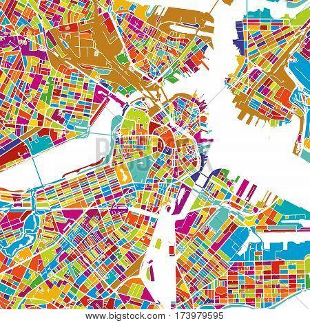 Boston Colorful Vector Map