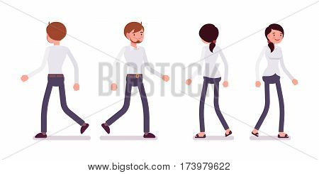 Set of young smiling male and happy female clerk in a smart formal wear, walking poses, fellow workers and friends going to the office, full length, front and rear view isolated, white background