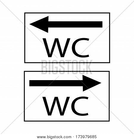 WC icon and arrow right and left in black square on white background. Sign restroom women and men. Symbol public washroom and bathroom. Template for postersign. Flat vector image. Vector illustration