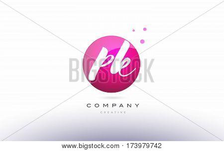 Pk P K  Sphere Pink 3D Hand Written Alphabet Letter Logo