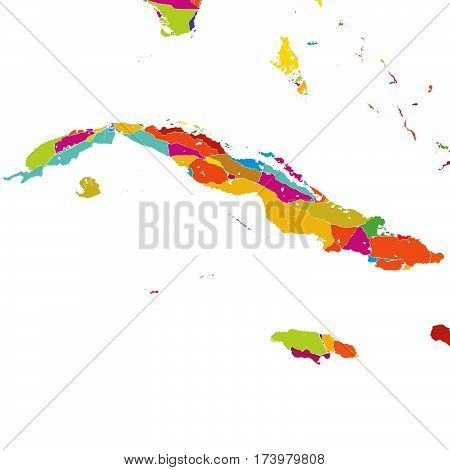 Cuba, Caribbean, Colorful Vector Map