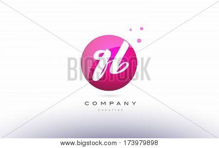 Qb Q B  Sphere Pink 3D Hand Written Alphabet Letter Logo
