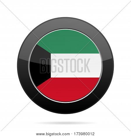 National flag of Kuwait. Shiny black round button with shadow.