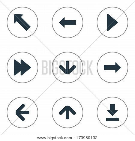 Set Of 9 Simple Indicator Icons. Can Be Found Such Elements As Right Landmark, Let Down, Downwards Pointing.