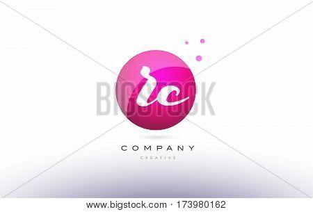 Rc R C  Sphere Pink 3D Hand Written Alphabet Letter Logo