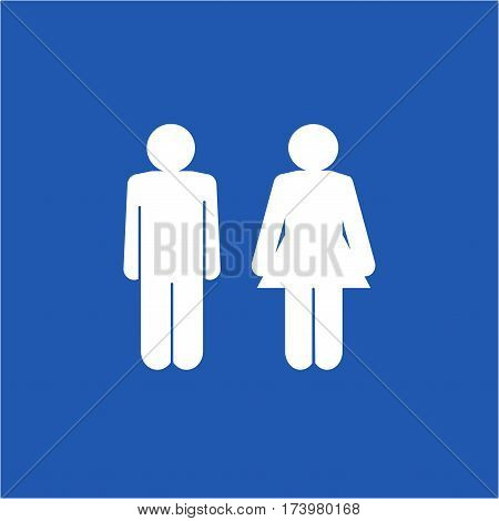WC icon. Silhouette men and women on blue background. Icon public toilette and bathroom for hygiene. Sign restroom women and men. Template for postersign. Flat vector image. Vector illustration.