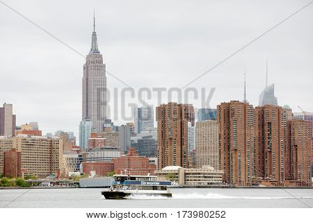 Manhattan Skyline Panorama With Empire State Building