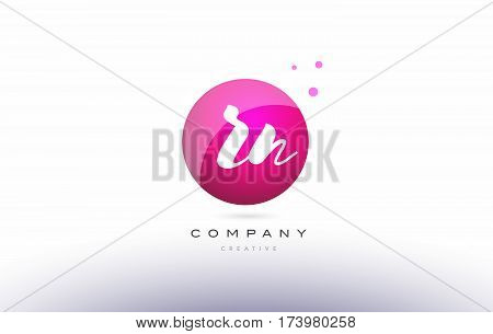 Rn R N  Sphere Pink 3D Hand Written Alphabet Letter Logo
