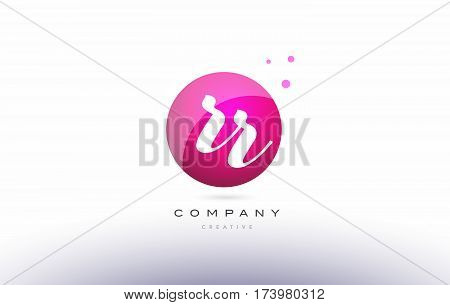 Rr R  Sphere Pink 3D Hand Written Alphabet Letter Logo