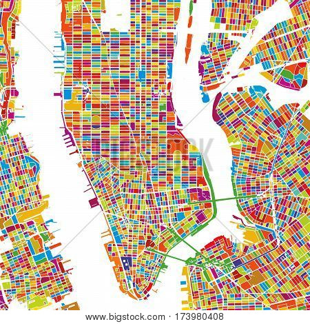 New York City, Usa, Colorful Vector Map