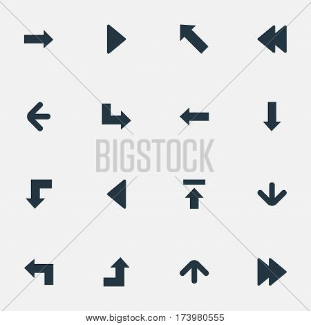 Set Of 16 Simple Pointer Icons. Can Be Found Such Elements As Transfer, Downwards Pointing, Left Direction And Other.